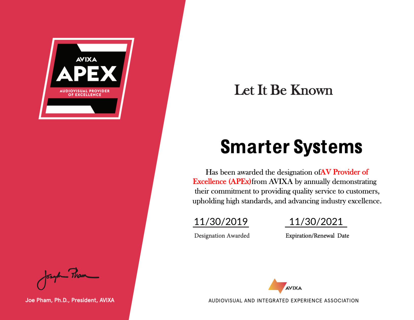 APEx Award - Smarter Systems